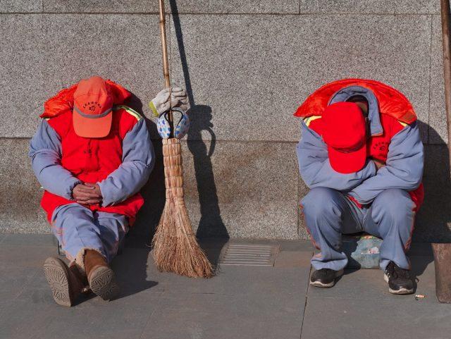 Beijing Street Scene, Sleeping Street Sweeper