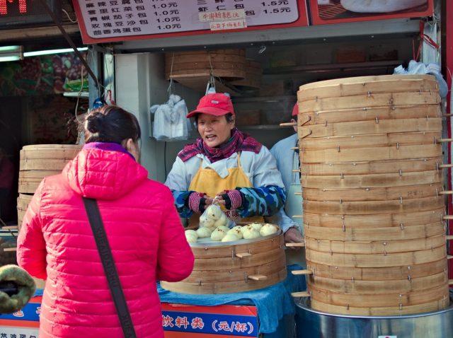 Beijing Street Scene, Woman Selling Dumplings