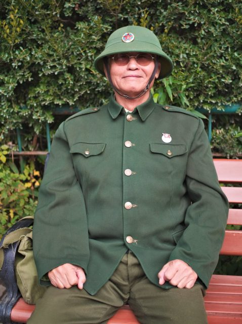 Beijing Street Scene, Chinese Man In Old Army Uniform