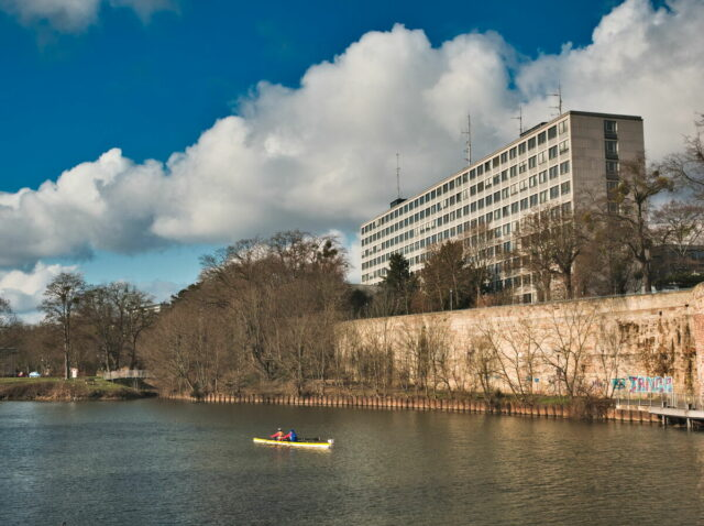 Kassel Cityscapes, Fulda river and Dr. Fritz-Hoch-Haus