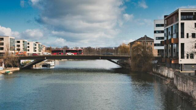 Kassel Cityscapes, Fuldabrücke over the river Fulda