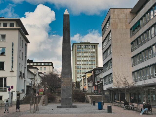 Kassel Cityscapes. Obelisk (artist:Olu Oguibe) in Treppenstraße