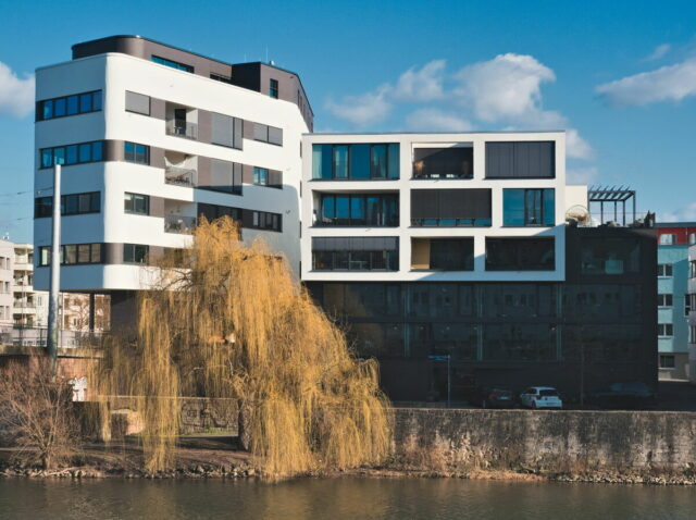Kassel Cityscapes, architecture on the banks of the Fulda